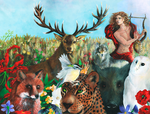 Orpheus and the animals by llewllaw