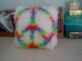 Peace Pillow -Hook Rug by ItzzNatalie
