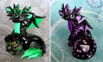Green and Purple Dice Dragons by DragonsAndBeasties