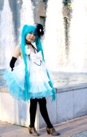 Miku Hatsune Camellia White Dress by Lightning--Baron