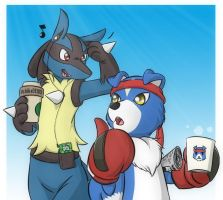Lucario and Gaomon by UchihaDEMS