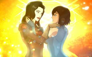 Korra and Asami by shamserg