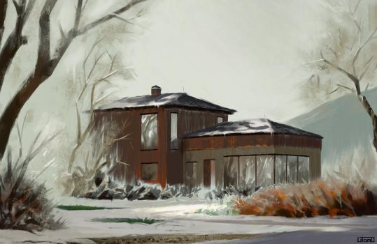 House in the Snow by Juhupainting