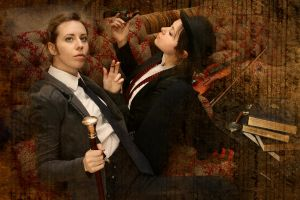 Holmes and Watson are smoking by BlueLarch