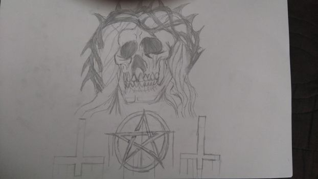 Jesus Skull by CRYPTICDrawing