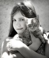 Girl and the cat by Alzbettta