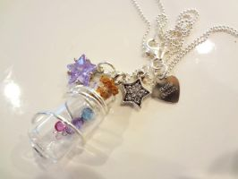 Wire Wrapped Bottle Necklace - Star Magic by WaterGleam