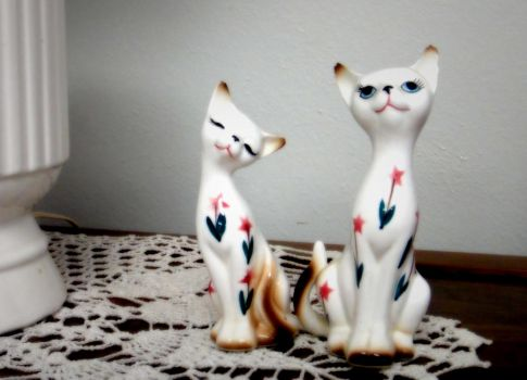 Kitty Salt and Pepper Shakers by sarahfabulous