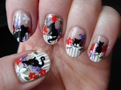 Cats Nail Art by Lyralein