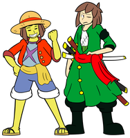 Monkey D. Frisk and Roronoa Chara  by ADayForYou