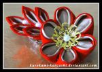 Fiery Fall Flower Clip by Kurokami-Kanzashi
