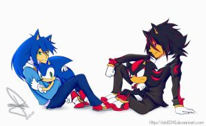Sonic and Shadow gijinka by idolnya