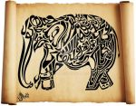 Quranic Calligraphy - Elephant by kchemnad