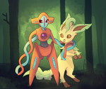 Deoxys and Leafeon Commission by C-H-I-Z-U