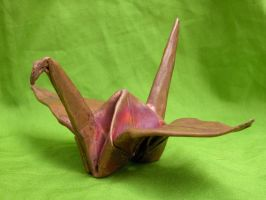 Copper Origami Crane by AbeDoss