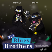 Wario and Waluigi the Blues Brothers by ragman2931