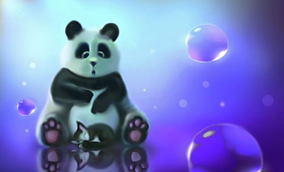 cute panda with kitten by Nneila