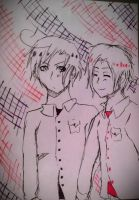 Italy and Romano Pen Sketch by MattnMello