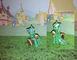 My Little Pony FiM custom: Lyra sitting with cider by vulpinedesigns
