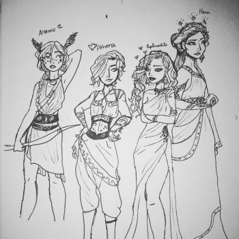 Goddesses WIP sketch by Impulse-Comics