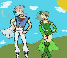 Edge and Rydia by TheNakedKing