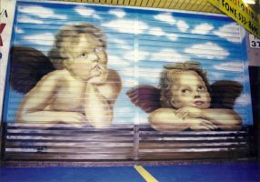 Angels, Graffiti Painting on a steel door. by christiano2211