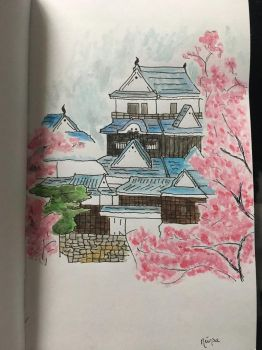 Palace in the cherry blossoms  by littledragon113