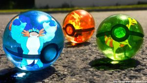 The Pokeballs of Hoenn Mega Starters by Jonathanjo