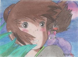 Pastel Drawing of Chihiro, Spirited Away by bananachi