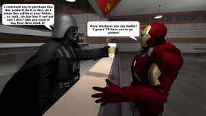 Darth Vader tries to sell coffee to Iron Man by kongzillarex619