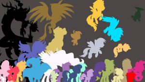 MLP Silhouette Parade Wallpaper by Tom-The-Rock