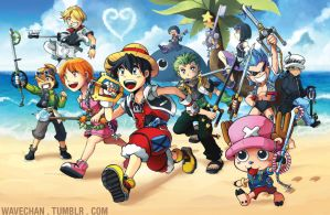 Kingdom Hearts X One Piece by suzuran