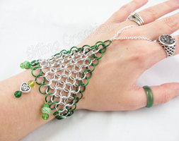 Green and Silver Celtic Knot Handflower by merigreenleaf