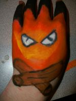 calcifer on hand by ChelseaHavoc