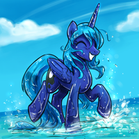 Splashy Luna by KP-ShadowSquirrel
