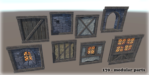 Modular Fantasy Medieval House parts by Zagreb-Dubrava