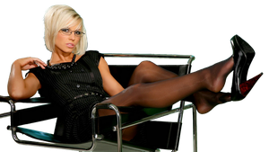girl relaxing in an office chair PNG by magXlander