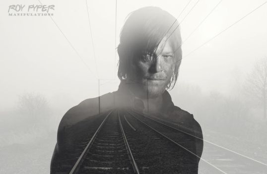 TWD: Daryl Dixon: Foggy Tracks: Double Exposure by nerdboy69