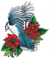 Blue Jay Poinsettias by MitchBarberTattoos