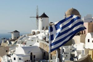 Flag over Santorini 1 by wildplaces