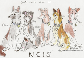 My canine version of NCIS team by DaniWolfdog