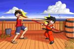 Monkey D. Luffy vs. Monkey Boy by lauraneato