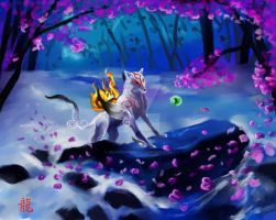 Amaterasu in the snow by Dragonbrush