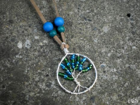 Tree of life wire wrapped pendant in blue and gree by UrdHandicrafts