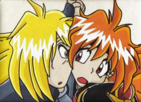lina and gourry by BunnyQueeks