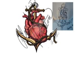 Monsteralex Anchored Heart Tattoo Design02 by chamil20