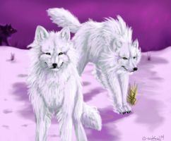 Ghost Wolves by brushfirewolf