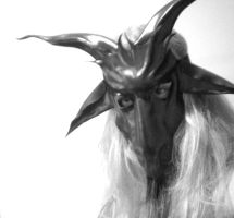 Baphomet Leather Mask bw by teonova