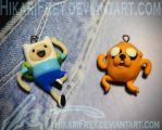 Finn and Jake charms by HikariFrey