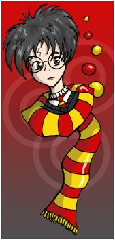 HP : Harry Heahshot with Scarf by Vickster